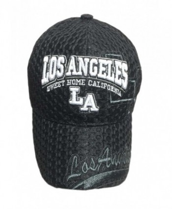 Aesthetinc 3D Embroidered Mesh Los Angeles LA Print Baseball Cap Hat - Black - CZ12C231LKH