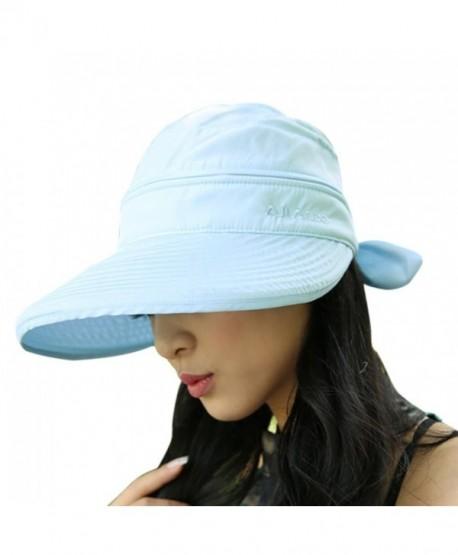 Women Wide Brim Visor Anti-UV Sun Protection 2 in 1 Summer Sun Hat Cap - Blue - C812HEW0F2V