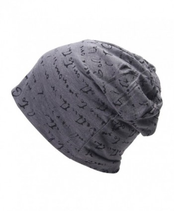 Smile YKK The Full Alphabet Stretch Soft Slouchy Beanie Hat Cap - Gray - CH11XKYHMOR