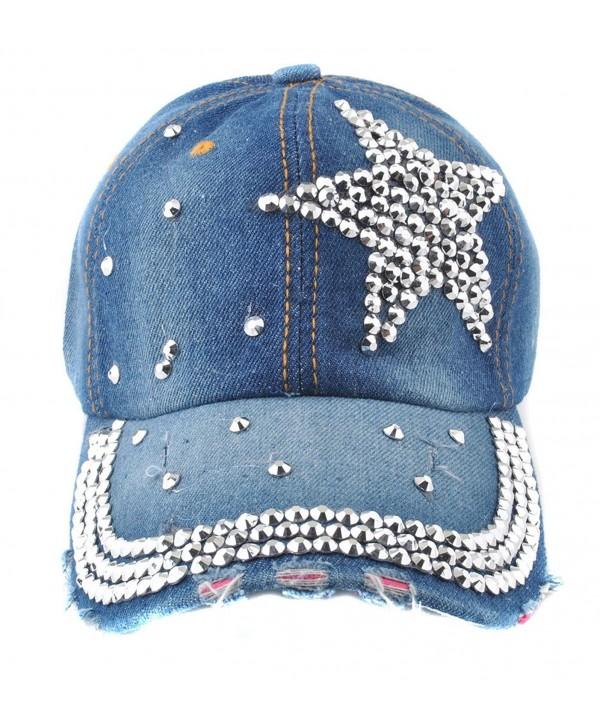 51b842ed9d1 Elonmo Cute Silver Big Star Womens Baseball Cap Jewel Rhinestone Bling Hats  Jeans Wash Denim -