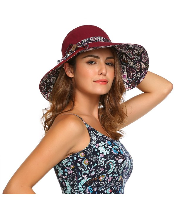 Zeagoo Womens Summer Reversible UPF 50+ Beach Sun Hats Foldable Wide Brim Visor Cap - Wine Red - CM184EAL3RE