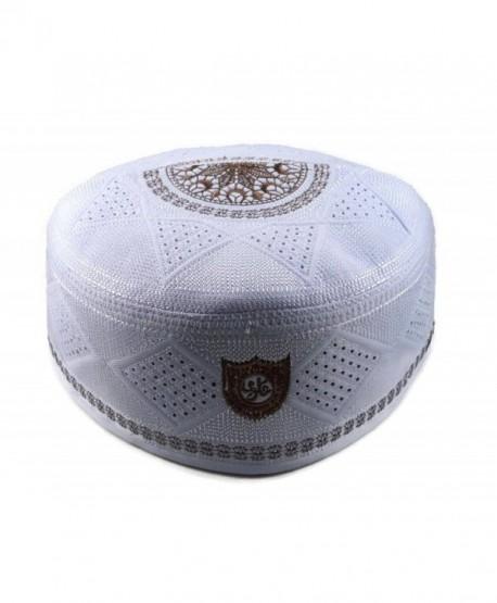 Alwee ALW002 Men's Muslim Prayer Hat Headware Skull Cap Islam Kufi Black White - White - CE12JF0UL5V