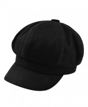 FUNOC Women's Vintage Style Wool Blend Newsboy Beret Hat Snap Brim Cap - Black - C812NSGRAIO