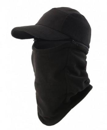 Home Prefer Mens Winter Hat with Visor Balaclava Fleece Hood Windproof Skull Cap - Black - C4186UY3NGO