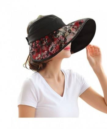 FakeFace Sun Protective Floppy Wide Brim Beach Travel Sun Hat Visor Sunhat - Black - CX12GYK19R9