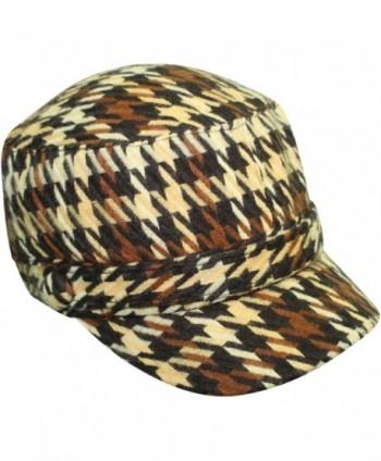 Luxury Divas Houndstooth Plaid Cadet Cap Hat - Brown - CP117B5850L