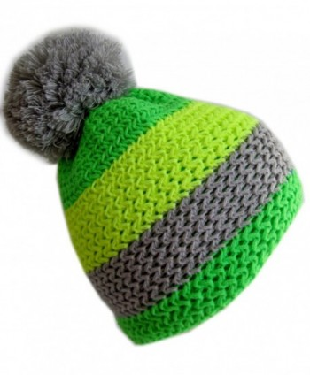 Frost Hats Winter Ski Beanie Striped Fluorescent Hat M2013-5 - Green - CT11ITS3VHL