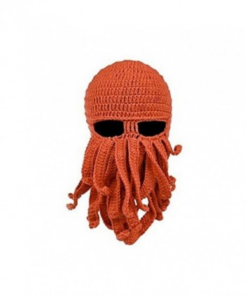 gloednApple Windproof Octopus Winter Warm Knitted Wool Beard Squid Beanie Hat Cap - Orange - CA12NE1OZR4