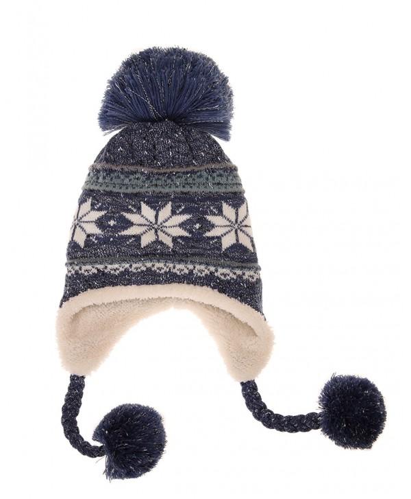 Dosoni Women Girl Winter Hats Knit Soft Warm Earflap Hood Cozy Large Snowflake Beani - Blue - CE186HC9RNW