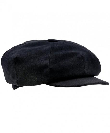 Sterkowski Wool 4 Quarters Crown Flat Cap Vintage Style - Black - CP120XFS8RZ
