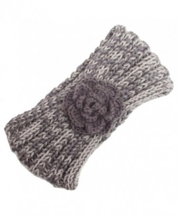 Deamyth Winter Women Knitting Wool Flower Headband Keep Warm Hairband - Gray - CK12O2PV4AX