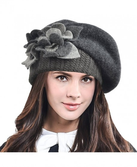HISSHE Lady French Beret 100% Wool Beret Chic Beanie Winter Hat HY023 - Grey - CE12NSWKYWB
