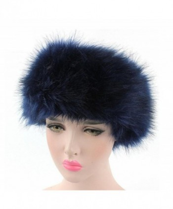 Connia Women Faux Fur Ladies Solid Winter Warm Headband Hat Cap Pile Cap - Navy - CX1895NRDLX