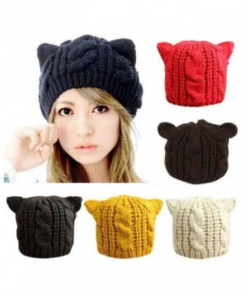 CoKate Women Winter Knit Hats- Women Warm Stretch Pom Pom Beanie Caps - Beige - CH186SZ6Q48