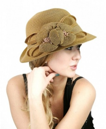 NYFASHION101 Side Flip Cloche Bucket Hat w/Woven Flower & Ribbon Accent- Natural - CP11W8272C9