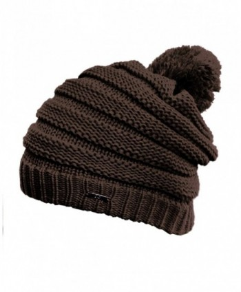 NYFASHION101 Stylish Unisex Solid Color Warm Acrylic Knit Beanie w/ Top Pom Pom - Brown - CY11NYFFX6L