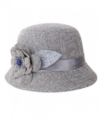 Sunward New Fashion Women Flax Flower Hat Bowler Billycock Cap - Gray - C111XGQUTDZ