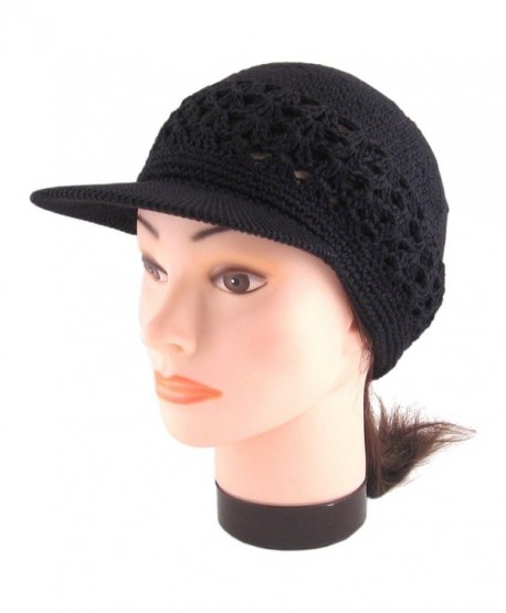 ea5ce43f35b Visor Brim Knit Kufi Hat - Koopy Cap - Crochet Beanie with Brim - Black -  CG119N8DFYF