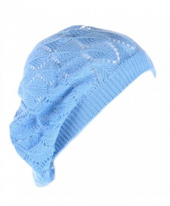 Be Your Own Style BYOS Womens Airy Cutout Lightweight Leafy Crochet Beret Beanie Hat (Sky Blue Leafy) - C912MZ9Z2F3