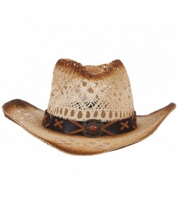 Unisex Woven Straw Cowboy Hat with Decorative Band - Nature - CQ1822Y9L96