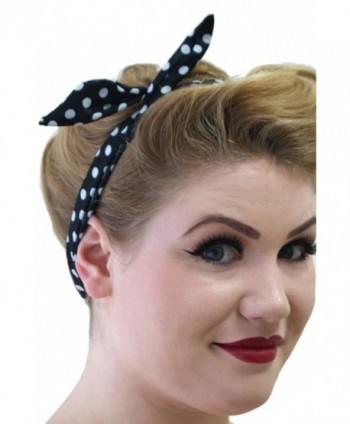 Banned Tiffany Womens Vintage Retro Rockabilly Headband - Black/White Polka Dots - C411YOGGBAZ