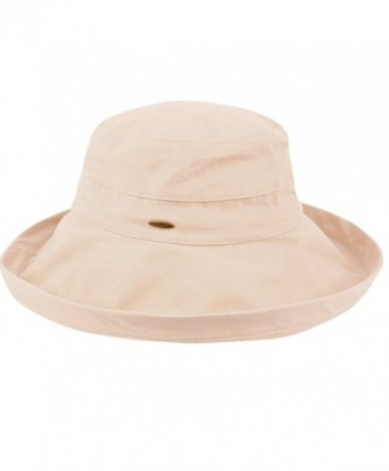 Women's Cotton Big Brim Hat with Inner Drawstring and UPF 50+ Rating - A Khaki - C7183KAZHXA