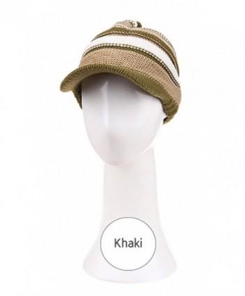 Sunfree Sports Stylish Three Layers Color Knit Wide Brim Visor Warm Hat for Women - CA187I0WOOW
