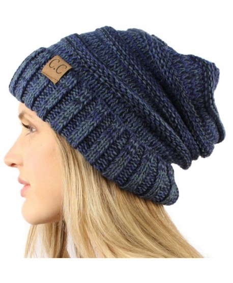 Unisex Oversized Chunky Soft Stretch Knit Slouchy Beanie Skully Hat Cap Mix - Navy - C9125J5YHUB