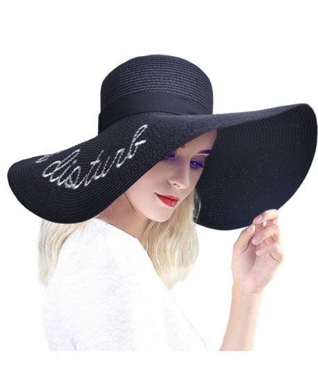 PardoBed Womens Embroidery Floppy Bucket Summer Kentucky Derby Sun Hat  Lettering Straw Hat - Black - 0832ce5f093
