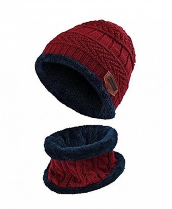 ZZLAY Winter Thick Beanie Hat Scarf Set Slouchy Warm Snow Knit Skull Cap - Red - CC186ASMRC3