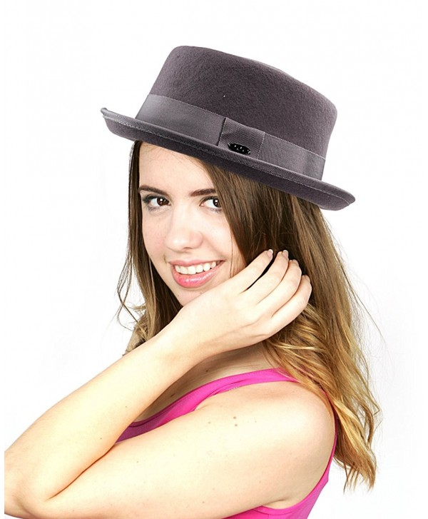 c0cbd88c8bb NYFASHION101 Women s Wool Felt Solid Color Band Accent Classic Porkpie Hat  - Gray - C411UH9F56F
