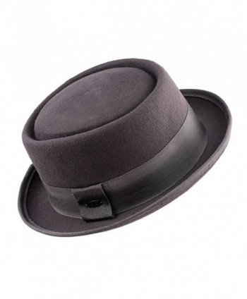 943872f7652 NYFASHION101 Women s Wool Felt Solid Color Band Accent Classic Porkpie Hat  - Gray - C411UH9F56F  NYFASHION101 Womens Accent Classic Porkpie ...