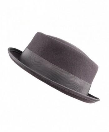 d3e2c441762 Women s Wool Felt Solid Color Band Accent Classic Porkpie Hat - Gray ...