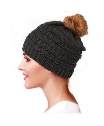 Glamorstar Trendy Messy Bun Beanie Ponytail Knit Hat Stretch Cable Chunky Bun Hat - Black - CS189K7CCIT