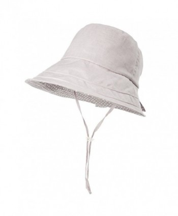Siggi Womens UPF50+ Linen/Cotton Summer Sunhat Bucket Packable Hats w/ Chin Cord - 89009_gray - CP17YECXA3U