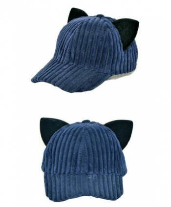 SJX Men Women Large Big Ear Mouse Cat Character Baseball Hat adjustment Cap Woll Hat - Cat Cap Navy - CH18C9QEY9N