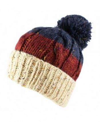 Morehats Three Tone Crochet Knit Slouchy Pompom Beanie Beret Winter Ski Hat - Beige/Burgundy/Blue - CK11NXHSYDT
