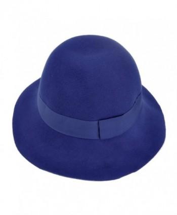 ZLYC Women 100% Wool Fashion Winter Ribbon Felt Fedora Floppy Bowler Hat Cap - Blue - C611PU3DKFV
