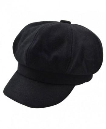 Monique Women Vintage Wool Newsboy Cap Cabbie Hat Fashion Visor Beret Cap Wide Brim Peaked Cap - Black - C918804M689