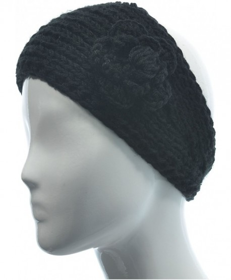 Hand By Hand Aprileo Women's Knitted Headband Headwrap Floral Crochet Solid - Black. - CI12GUFW9OP