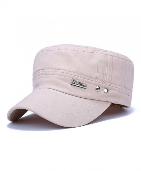 460b6c0ee2021 ChezAbbey Solid Brim Flat Top Cap Army Cadet Style Military Ripped Hat  Peaked Cap - Beige
