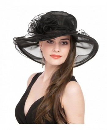 SAFERIN Women's Organza Church Kentucky Derby Fascinator Bridal Cap British Tea Party Wedding Hat - Black - CJ11VA6DBDH
