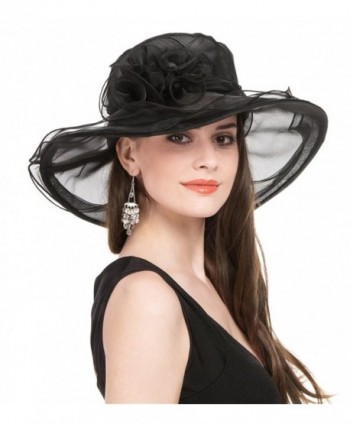 bd56ea0f93cf SAFERIN Women's Organza Church Kentucky Derby Fascinator Bridal Cap British  Tea Party Wedding Hat - Black; SAFERIN Women Kentucky Church Organza ...
