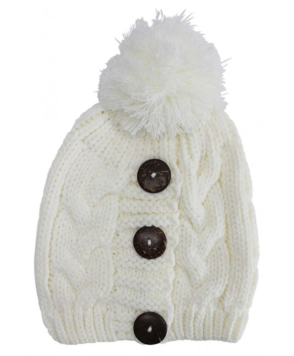 Luxury Divas Cable Knit Slouchy Beanie Hat With Button Trim - Ivory - CH128O8P4VB