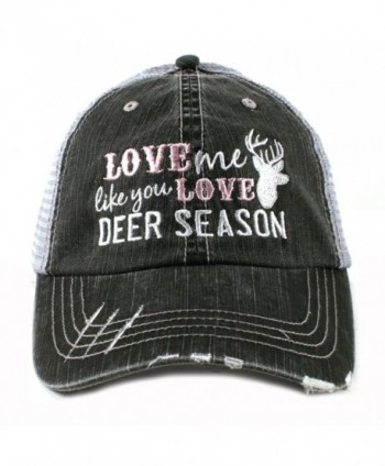 Love Me Like You Love Deer Season Hunting Women's Trucker Hat Cap by Katydid - Gray - C111OWNCQHN
