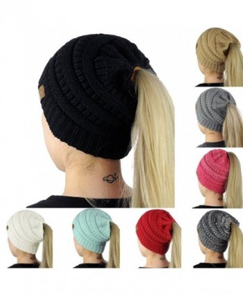 Milkhouse Womens Ponytail Cap- Warm Beanie Tail Knitted Hat - Black - CS189COMQL9
