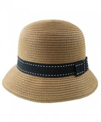 eYourlife2012 Gril's Summer Cloche Straw Foldable Round Top Beach Bucket Sun Hat - Light Coffee - CE11LT18FTJ