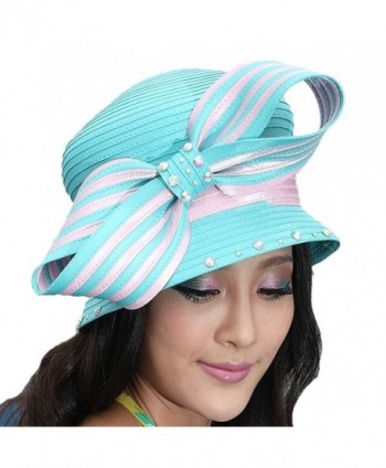 June's Young Elegant Woman's Church Hat Church Suits Matching Couture Hats Bow - Light pink with blue - CZ11I2Q5CA3