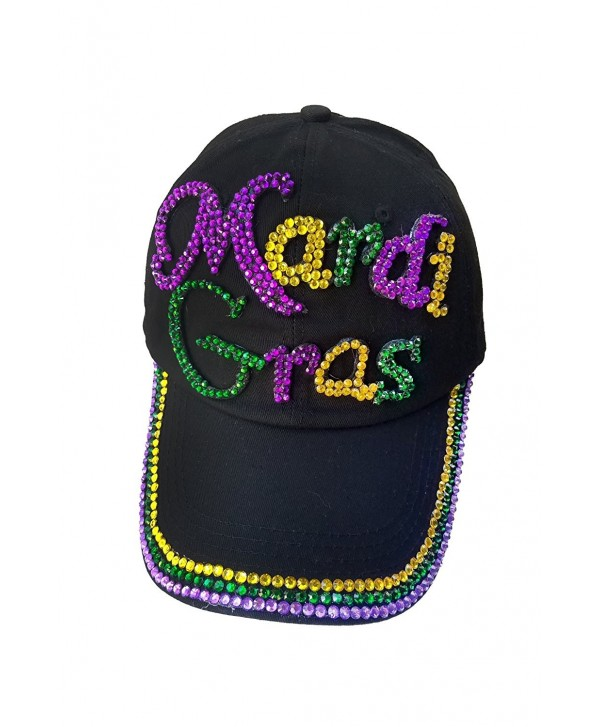 Denim Rhinestone Bling Sports Mom Baseball Cap Hat - Mardi Gras Hat - CP12O6NVW0L