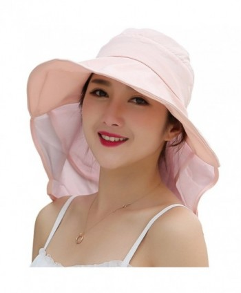Lanzom Women Large Brim Adjustable Quick-Drying Outdoor Sun Hat With Net Protection - Pink - CC17YREZSU9